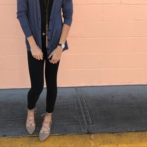 Old Navy Flats 10 Lace Up Pointy Toe Faux Leather
